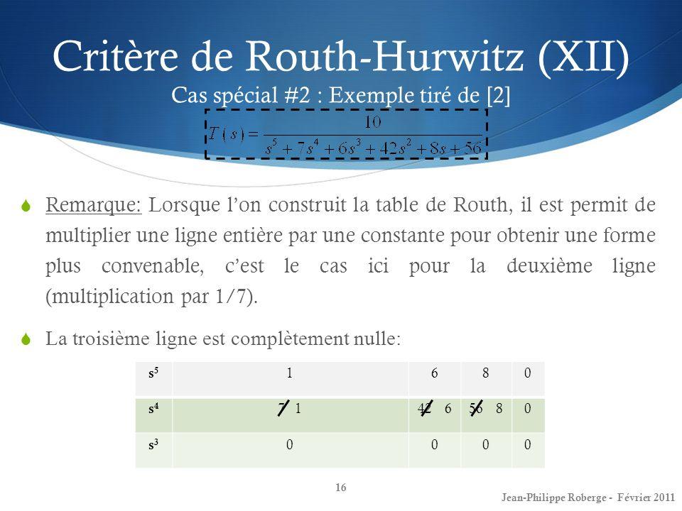 Critère de Routh-Hurwitz (XII) Cas spécial #2 : Exemple tiré de [2]